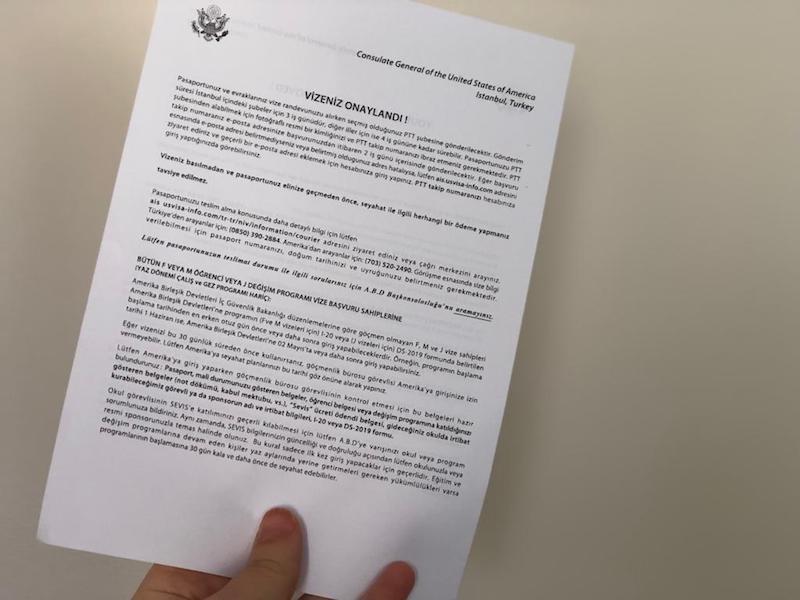 Amerika vize onay yazısı