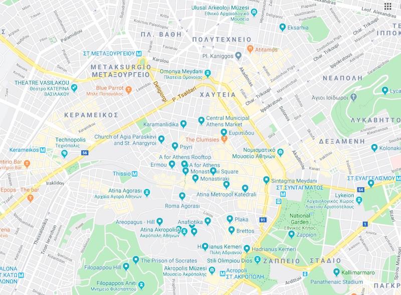 Atina Gezilecek Yerler Haritası