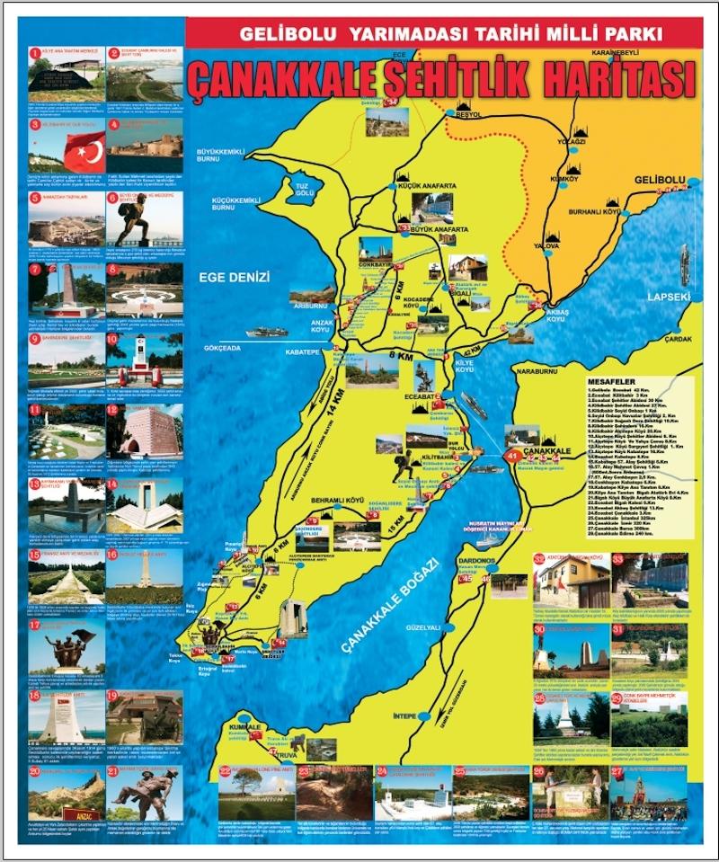 Çanakkale Şehitliği Haritası