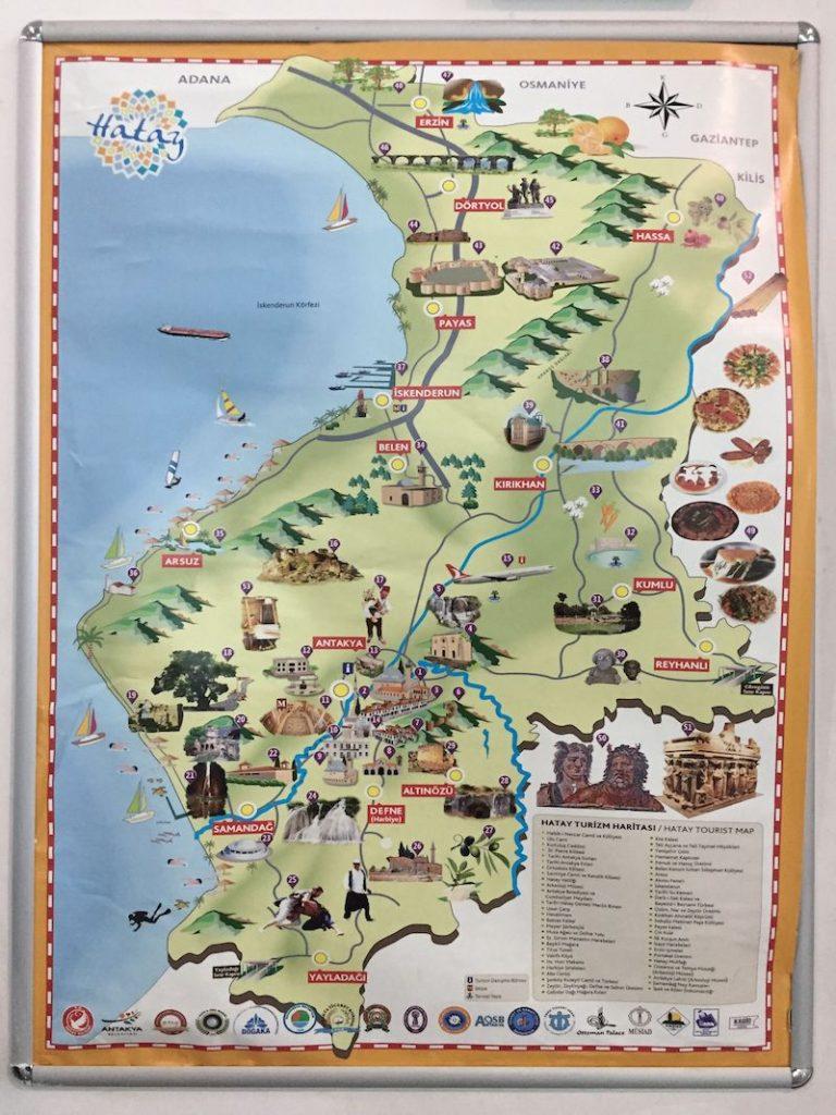 Hatay'da gezilecek yerler haritası