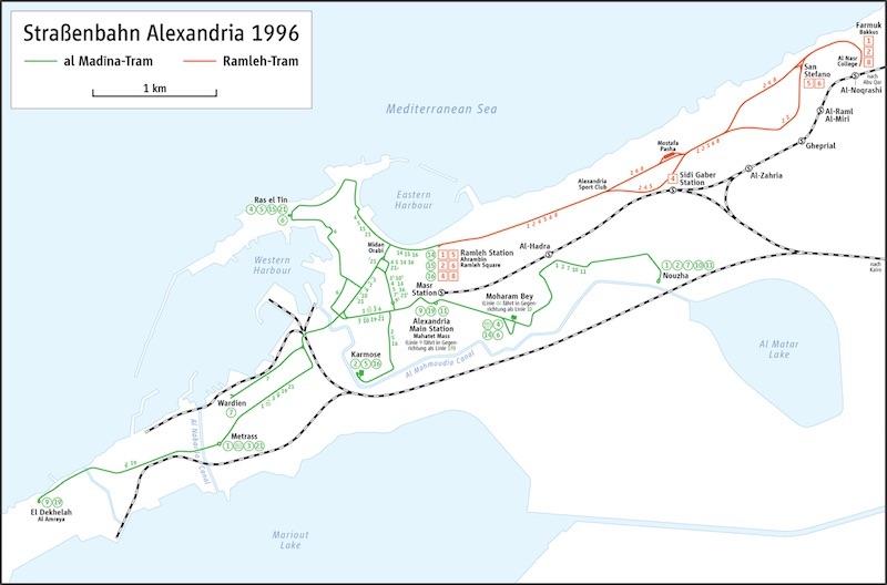 İskenderiye tramvay haritası