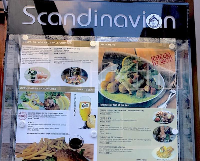 İzlanda'da yemek fiyatlarına bir örnek