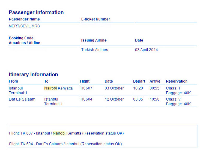 Kenya-Nairobi gidiş, Tanzanya-Darüselam dönüş uçak bileti