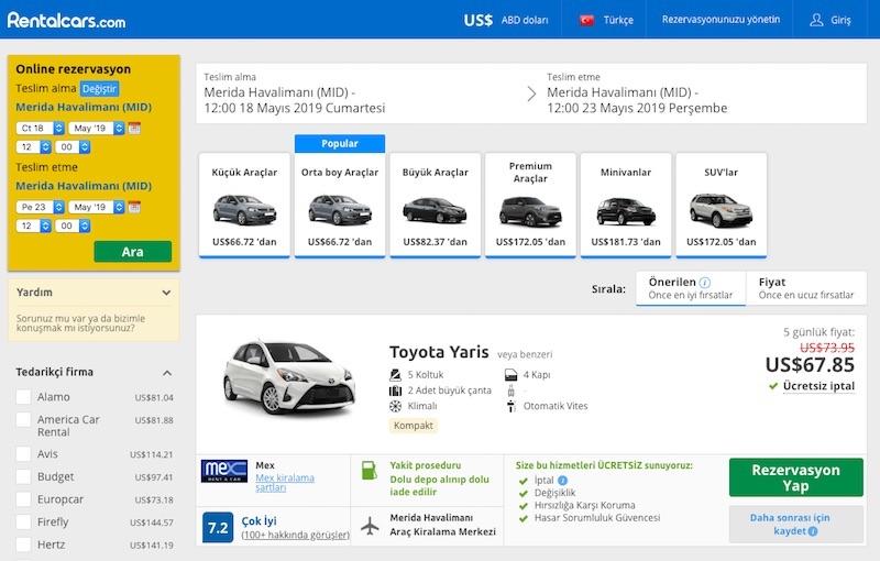 Dünyanın en büyük araç kiralama sitesi Rentalcars.com
