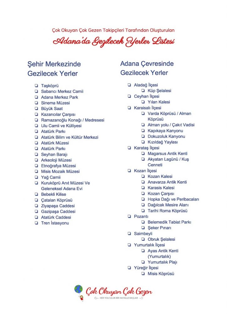 Adana'da Gezilecek Yerler Listesi