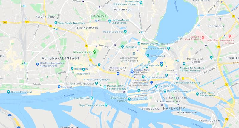 Hamburg'da gezilecek yerler haritası