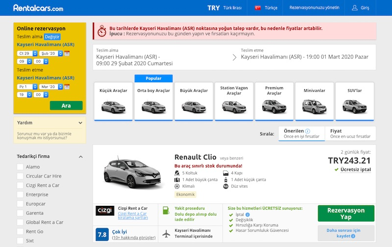 Kayseri'de araç kiralama