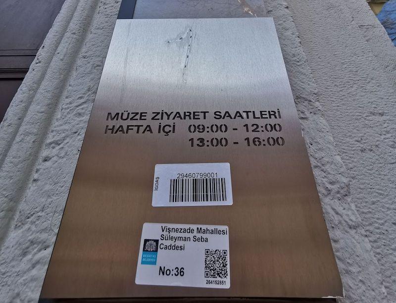 Akaretler Mustafa Kemal Müzesi Ziyaret Saatleri