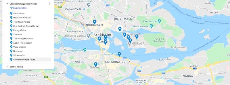 Stokholm'de Gezilecek Yerler Haritası