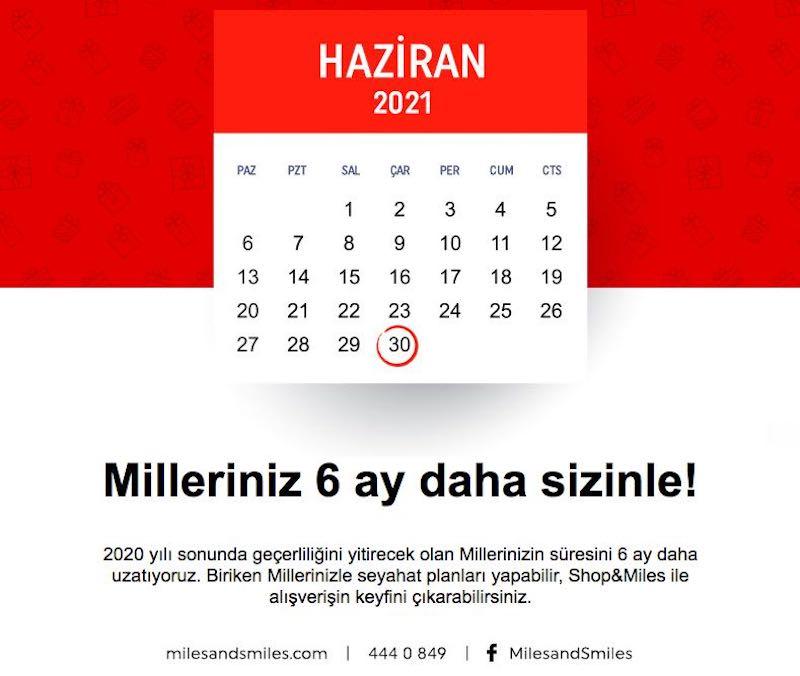 Türk Hava Yolları Millerin Geçerlilik Süresini 6 Ay Uzattı