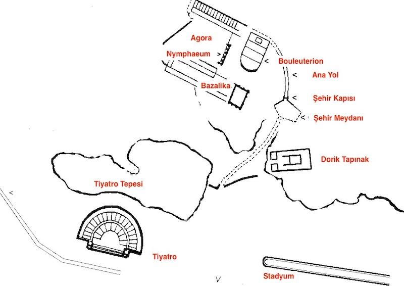 Aspendos Kent Planı - Aspendos Haritası